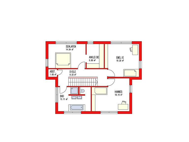Dörr Haus - Pultdachhaus 164 Grundriss OG