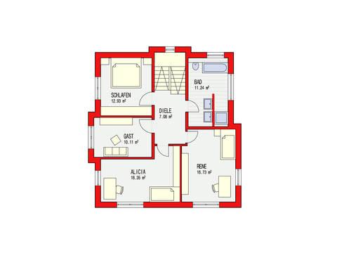 Dörr Haus - Stadtvilla 148 Grundriss OG