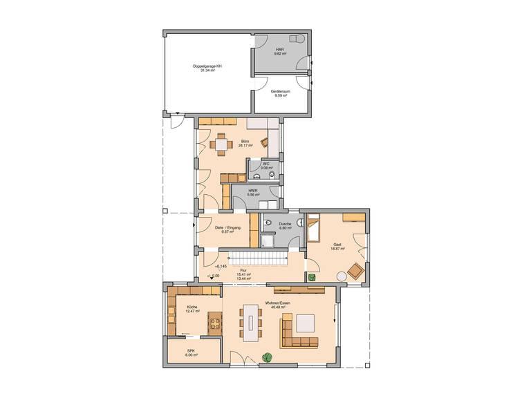 Bauhaus Ixeo von Kern-Haus Grundriss EG