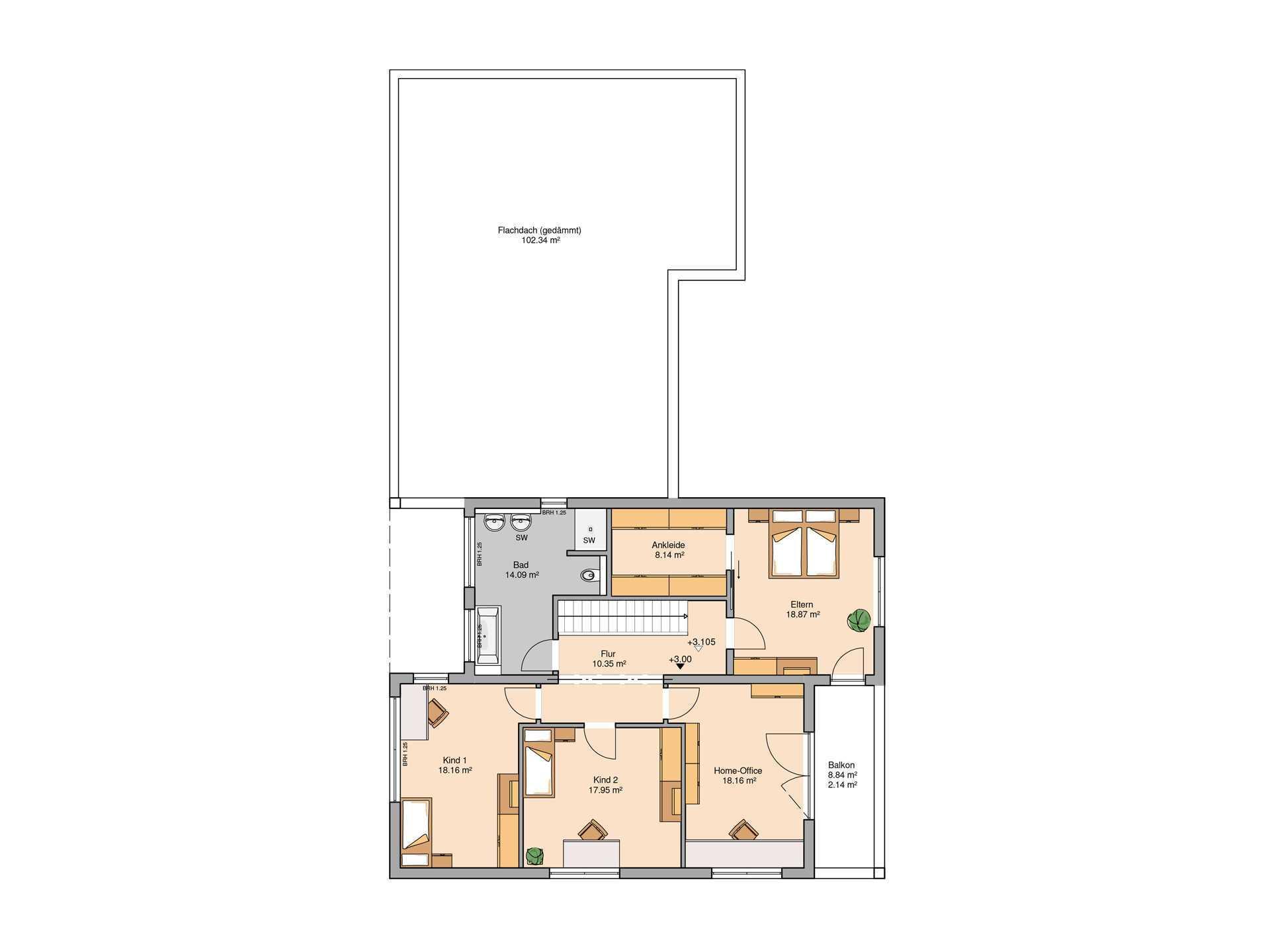 Bauhaus Ixeo von Kern-Haus Grundriss OG