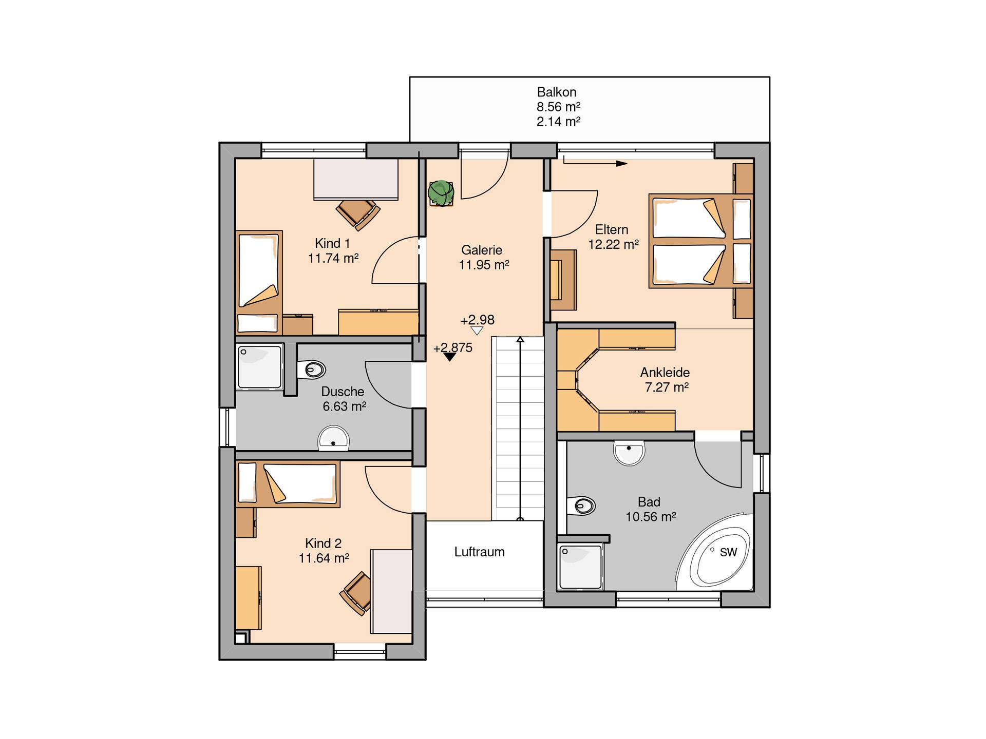 Bauhaus Linea von Kern-Haus Grundriss OG