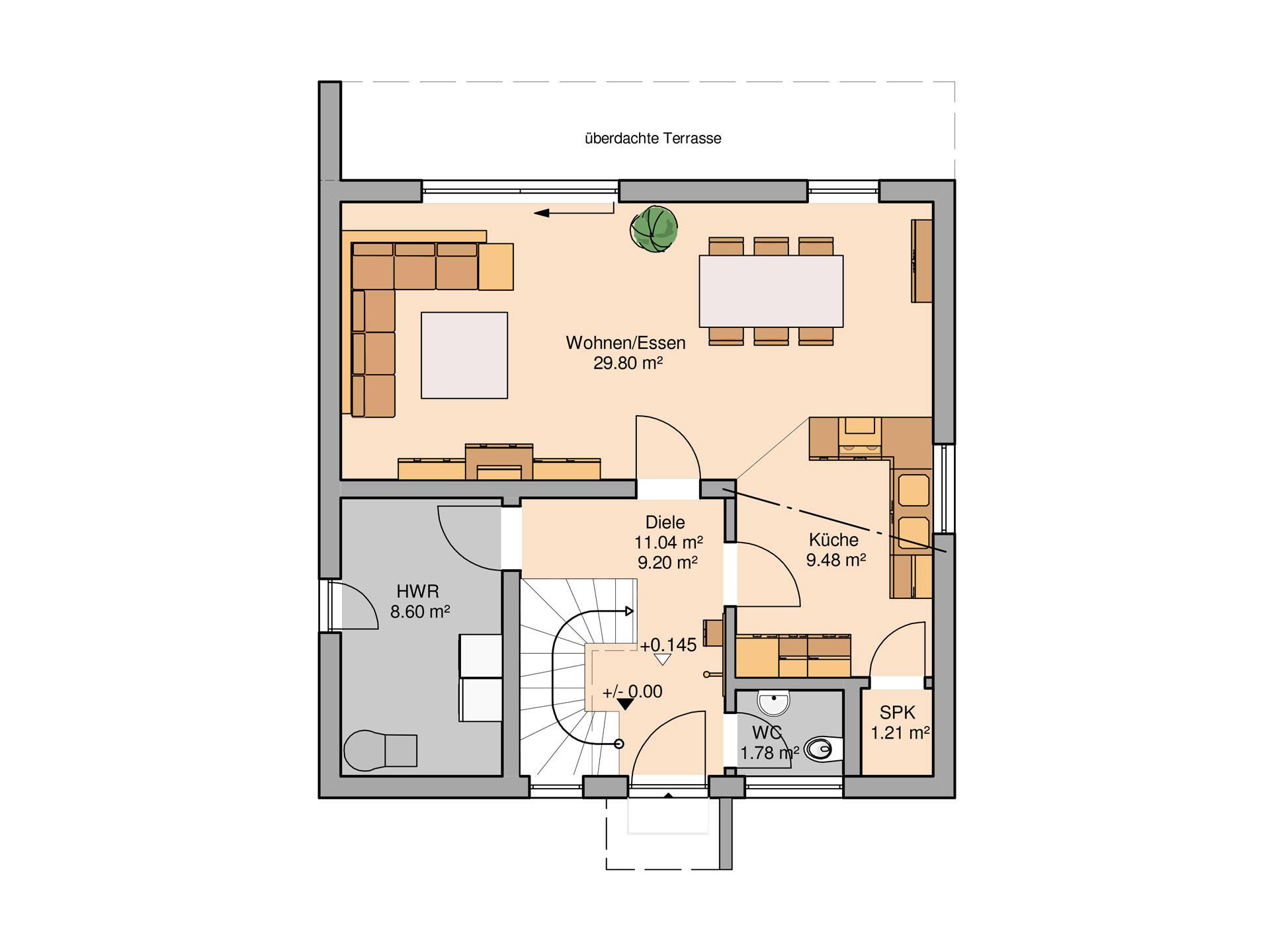 Bauhaus Novum von Kern-Haus Grundriss EG