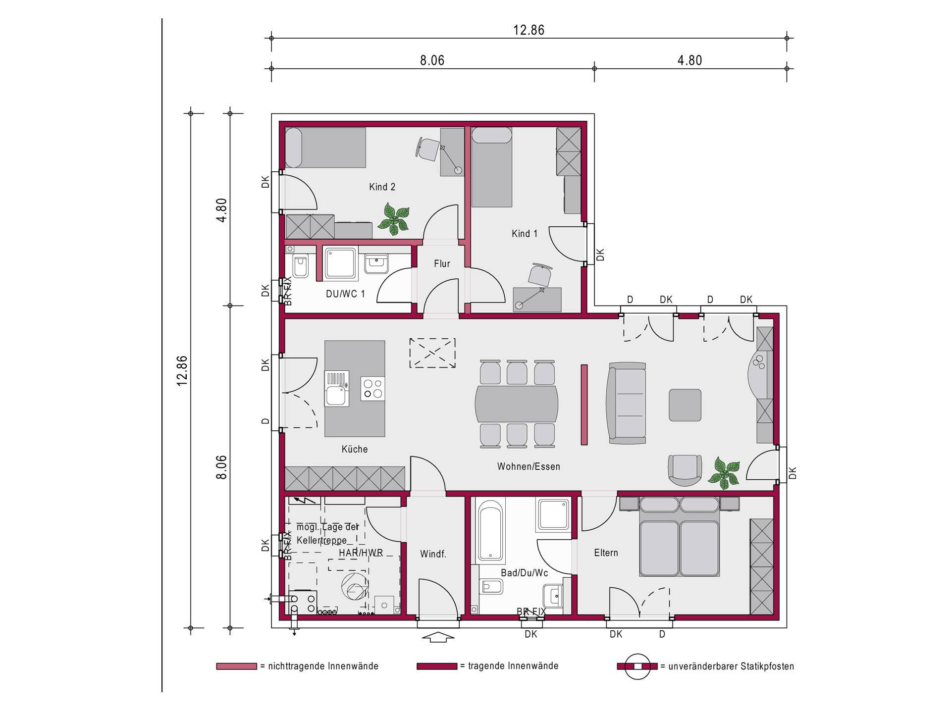 Ein SteinHaus Bungalow Concept 2.0 B Grundriss