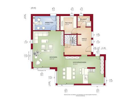Grundriss EG Fantastic 163 V4 von Bien-Zenker