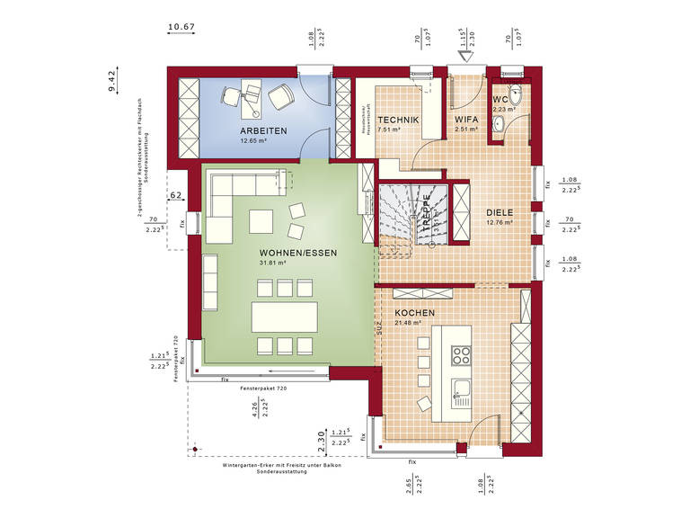 Grundriss EG Fantastic 163 V7 von Bien-Zenker