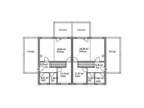 Doppelhaus 119 - Ytong Bausatzhaus Grundriss EG
