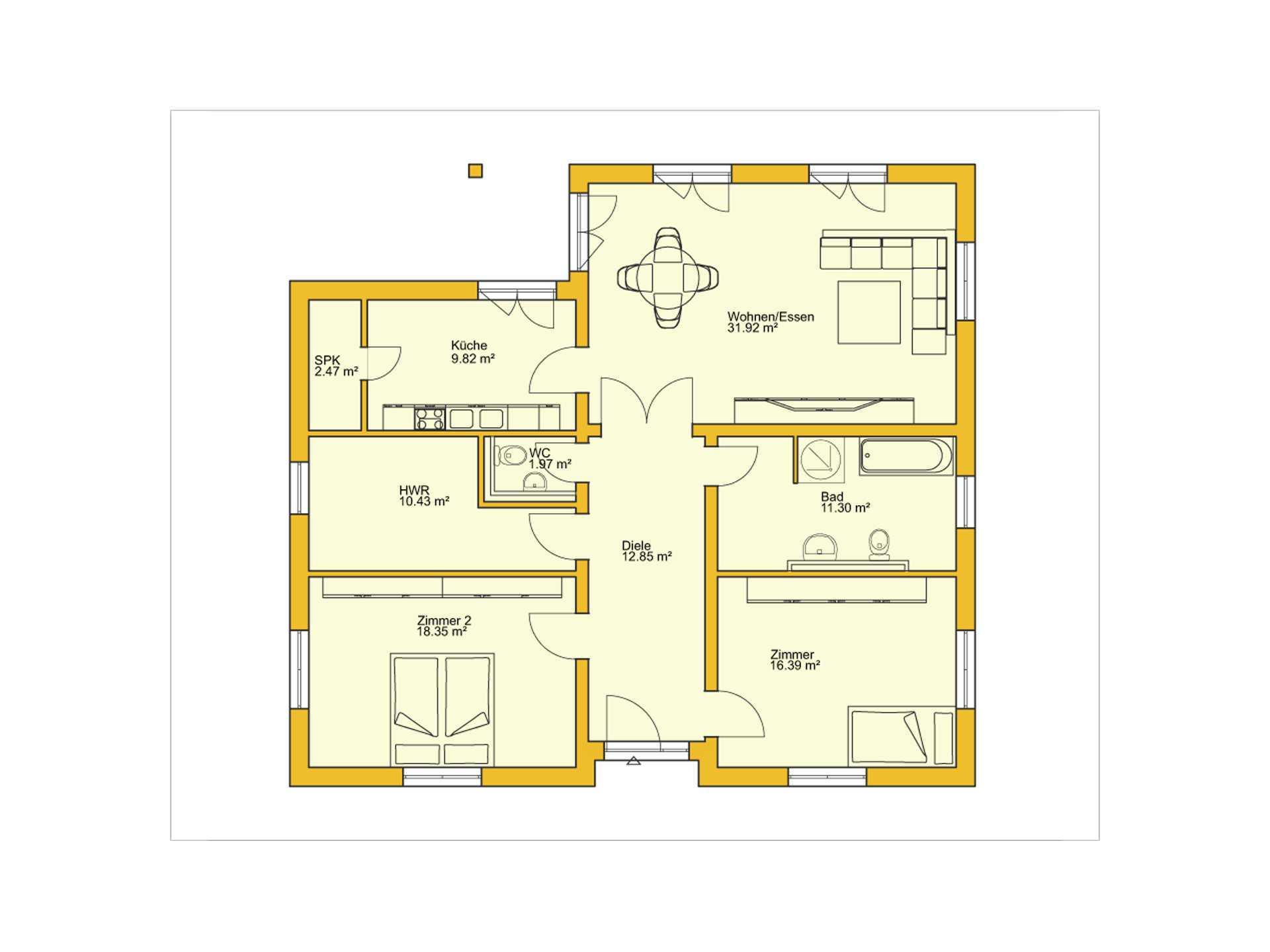 Beispielhaus 22.0 Grundriss EG von Ytong Bausatzhaus