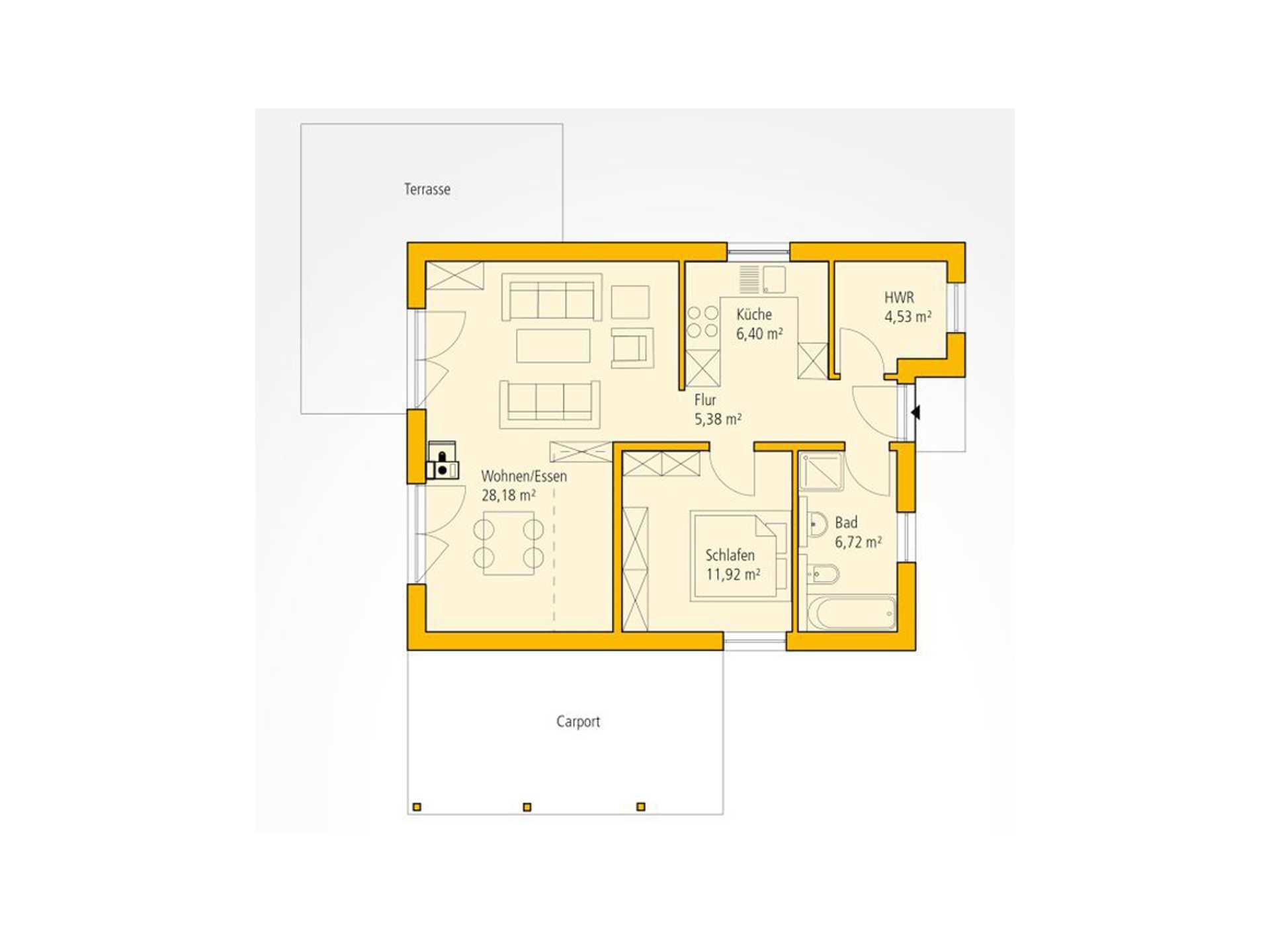Bungalow A 69 Grundriss EG von Ytong Bausatzhaus