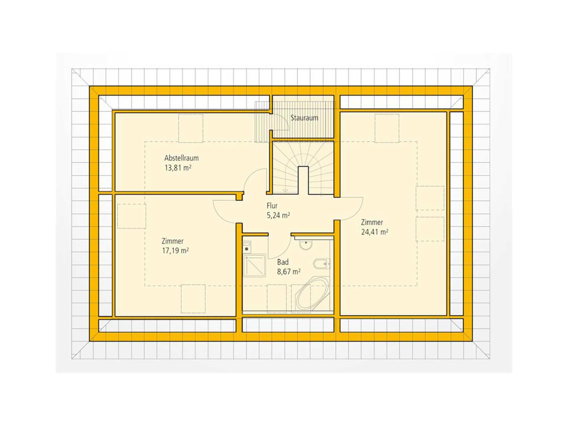 Bungalow KA 112 Grundriss DG von Ytong Bausatzhaus
