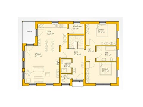 Bungalow KA 112 Grundriss EG von Ytong Bausatzhaus