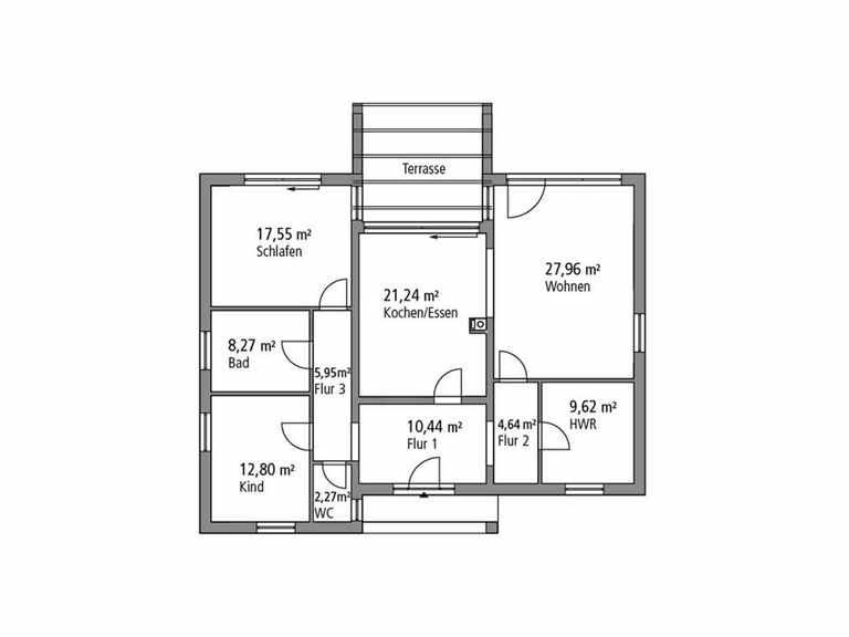 Bungalow 121 - Ytong Bausatzhaus Grundriss EG