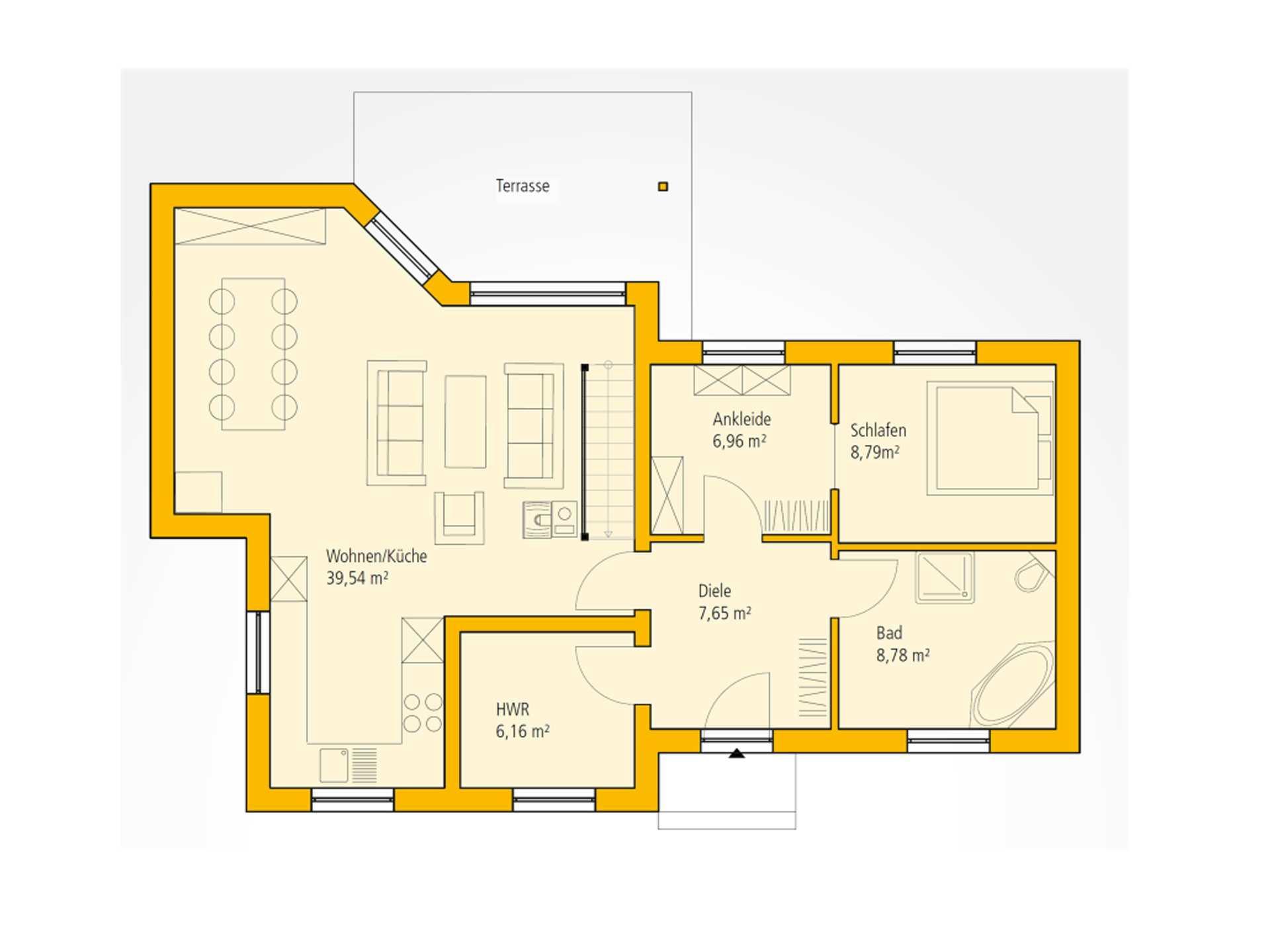 Bungalow WA 83 Grundriss EG von Ytong Bausatzhaus