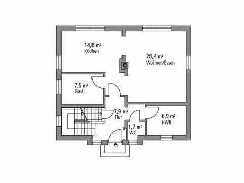 Stadtvilla 133 - Ytong Bausatzhaus Grundriss EG