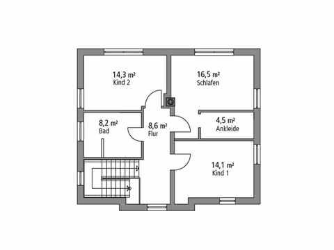 Stadtvilla 133 - Ytong Bausatzhaus Grundriss OG