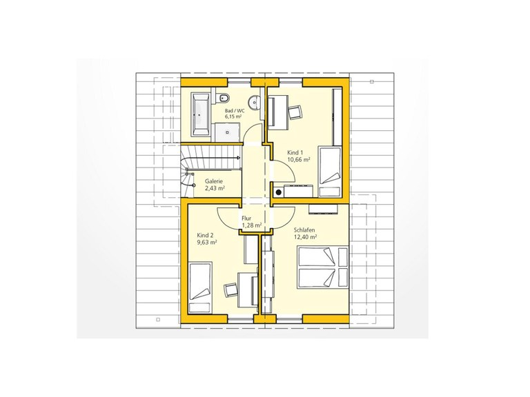 Kompakthaus 100 Grundriss DG von Ytong Bausatzhaus