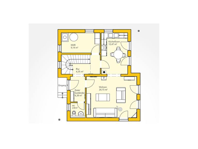 Kompakthaus 100 Grundriss EG von Ytong Bausatzhaus