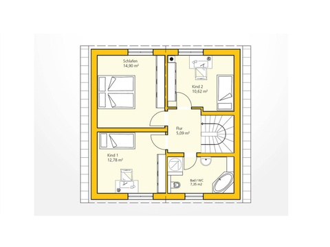 Kompakthaus 108 Grundriss DG von Ytong Bausatzhaus