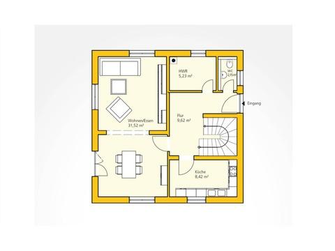 Kompakthaus 108 Grundriss EG von Ytong Bausatzhaus