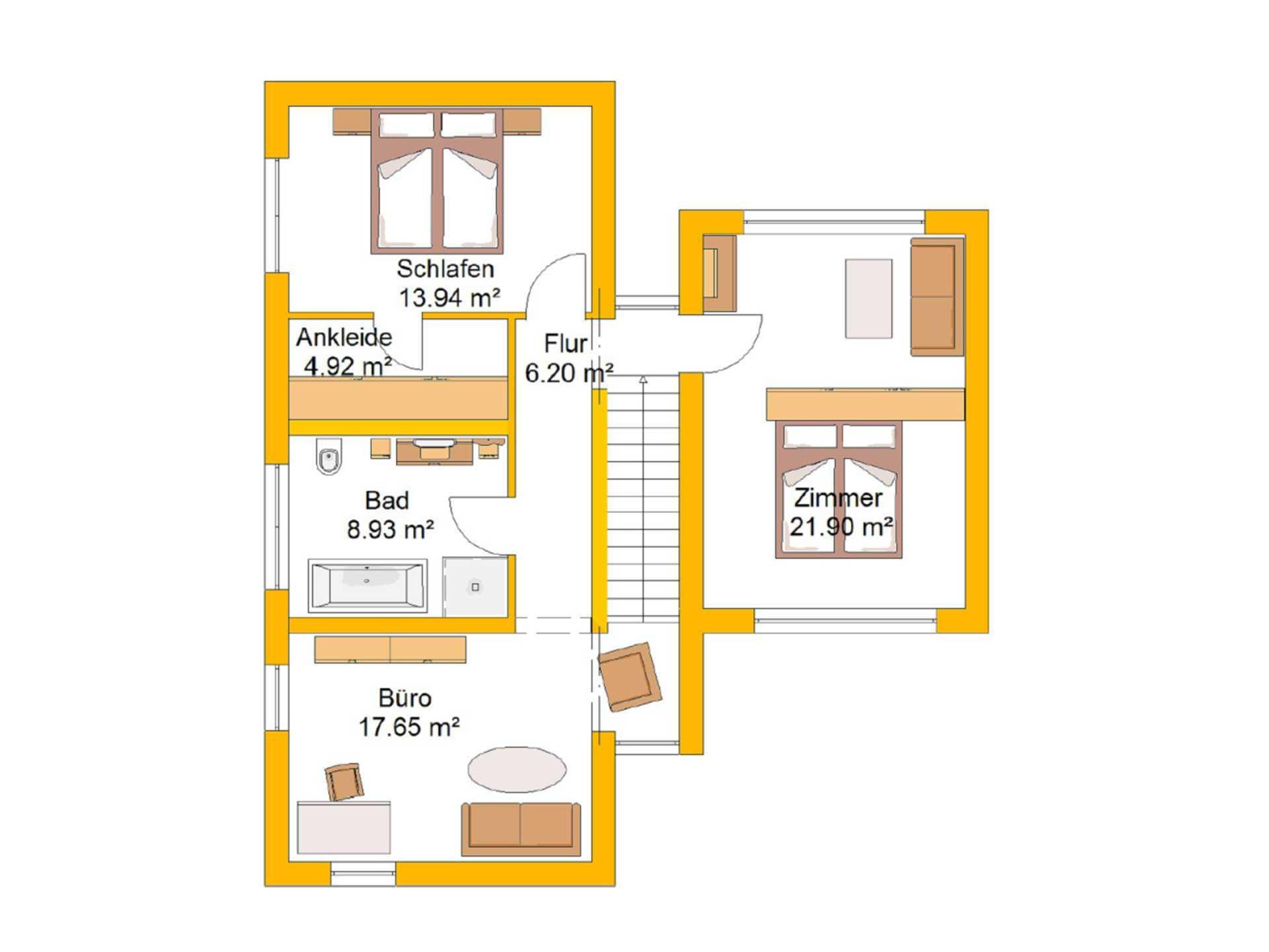 Lifestylehaus 155 Grundriss OG von Ytong Bausatzhaus