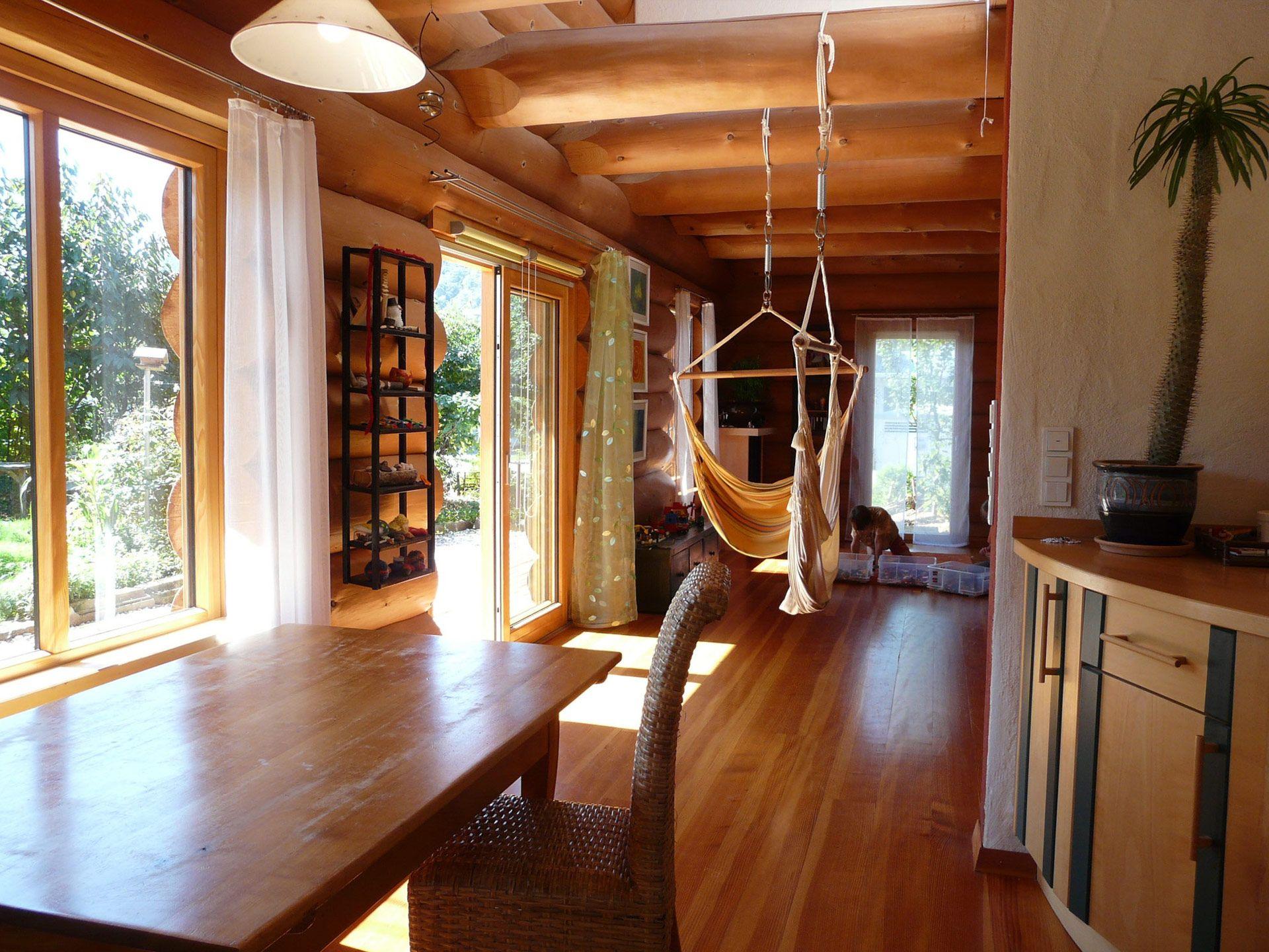 Naturstammhaus - Wohnzimmer