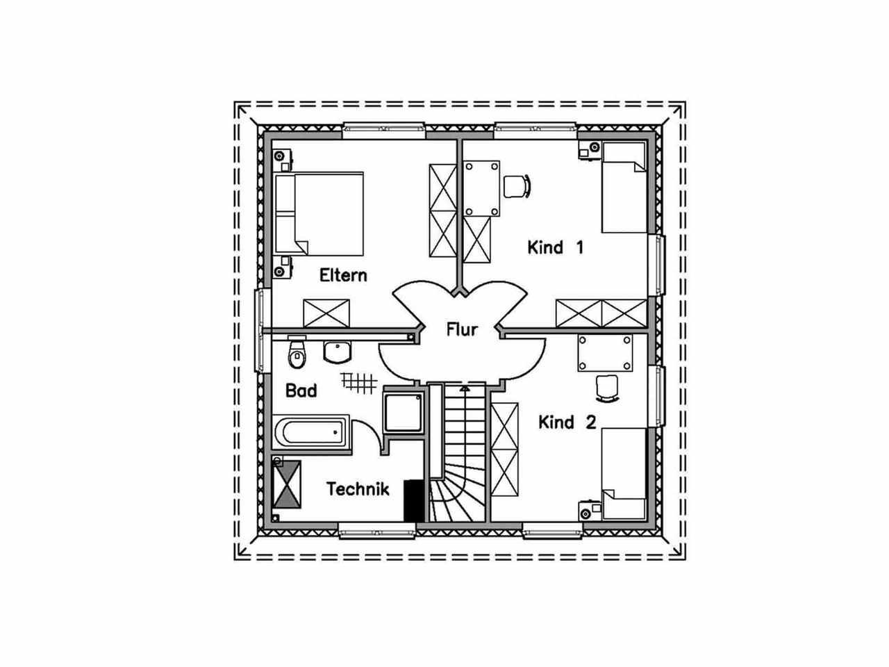 Stadtvilla 125 K - Baudirekt Grundriss DG