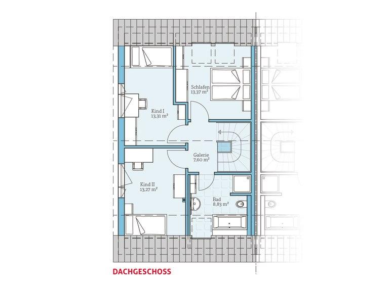 Hanse Haus Doppelhaus 45-119 Grundriss DG