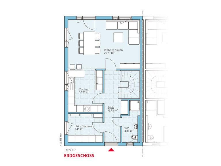 Hanse Haus Doppelhaus 45-119 Grundriss EG