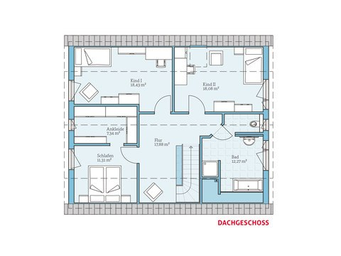 Hanse Haus Satteldachhaus Variant 35-174 Grundriss DG