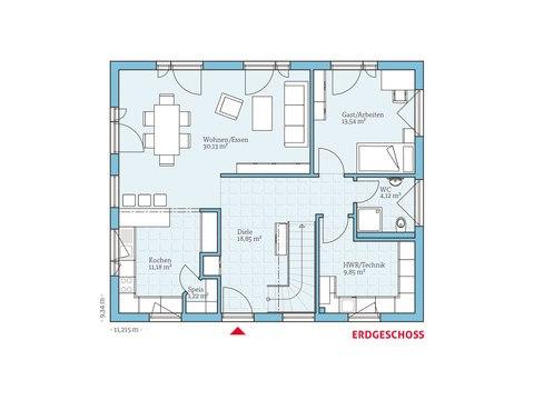 Hanse Haus Satteldachhaus Variant 35-174 Grundriss EG