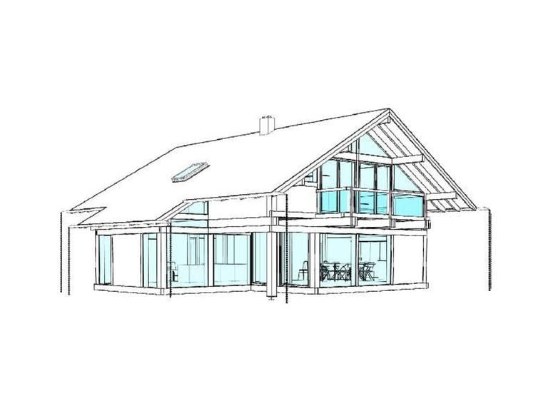 Modernes Fachwerkhaus Entwurf 1 Ansicht 2 - Concentus