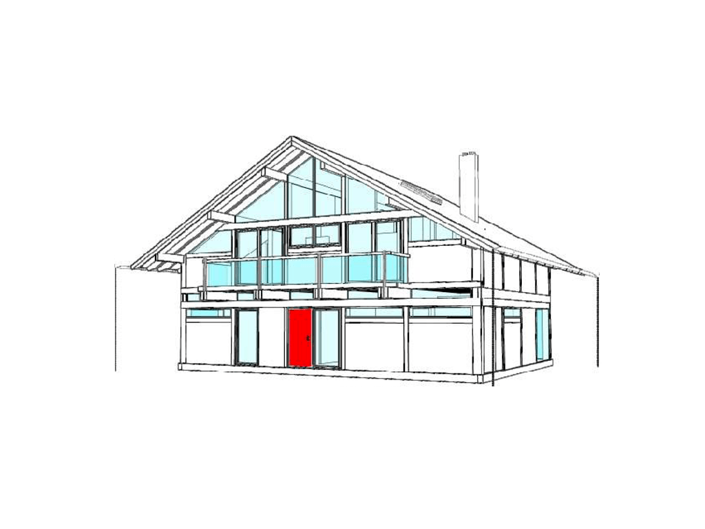 modernes fachwerkhaus entwurf 3 concentus holzskelett haus. Black Bedroom Furniture Sets. Home Design Ideas