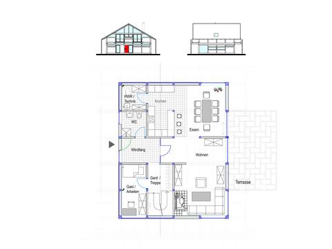 Modernes Fachwerkhaus Entwurf 3 EG Concentus