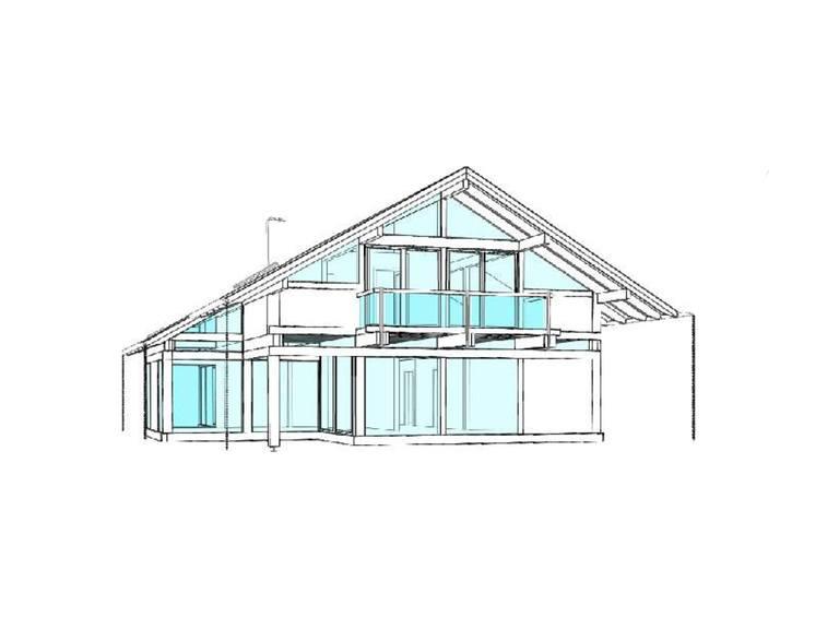Modernes Fachwerkhaus Entwurf 4 Ansicht 2 - Concentus