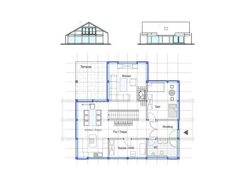 Modernes Fachwerkhaus Entwurf 4 Grundriss EG