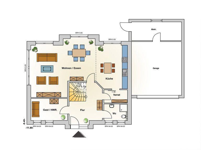 Einfamilienhaus Kupfer Grundriss EG