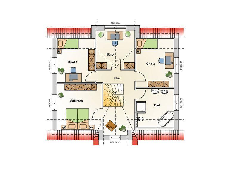 Einfamilienhaus Kupfer Grundriss OG