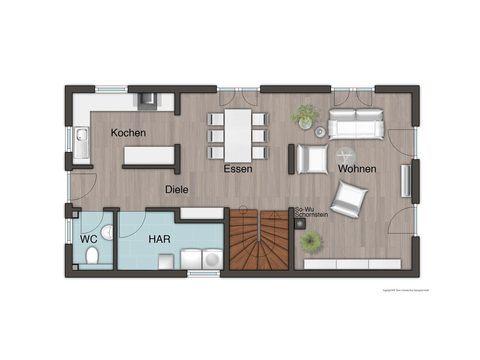 Stadthaus Aura 125 Grundriss EG - FL HausProjekt