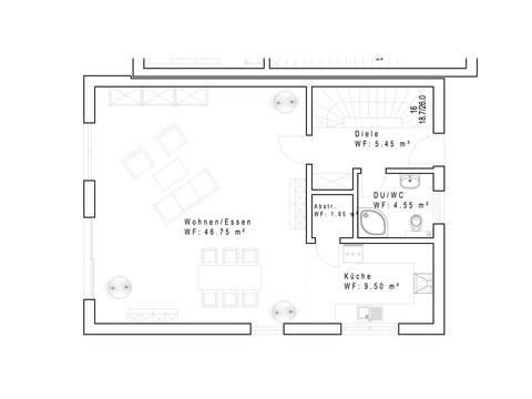 Doppelhaushälfte 134 mit Pultdach - Grundriss EG
