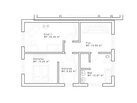 Doppelhaushälfte 134 mit Pultdach - Grundriss OG