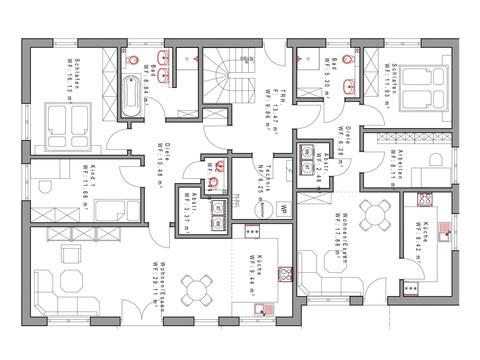 Vierfamilienhaus SD338 Grundriss EG