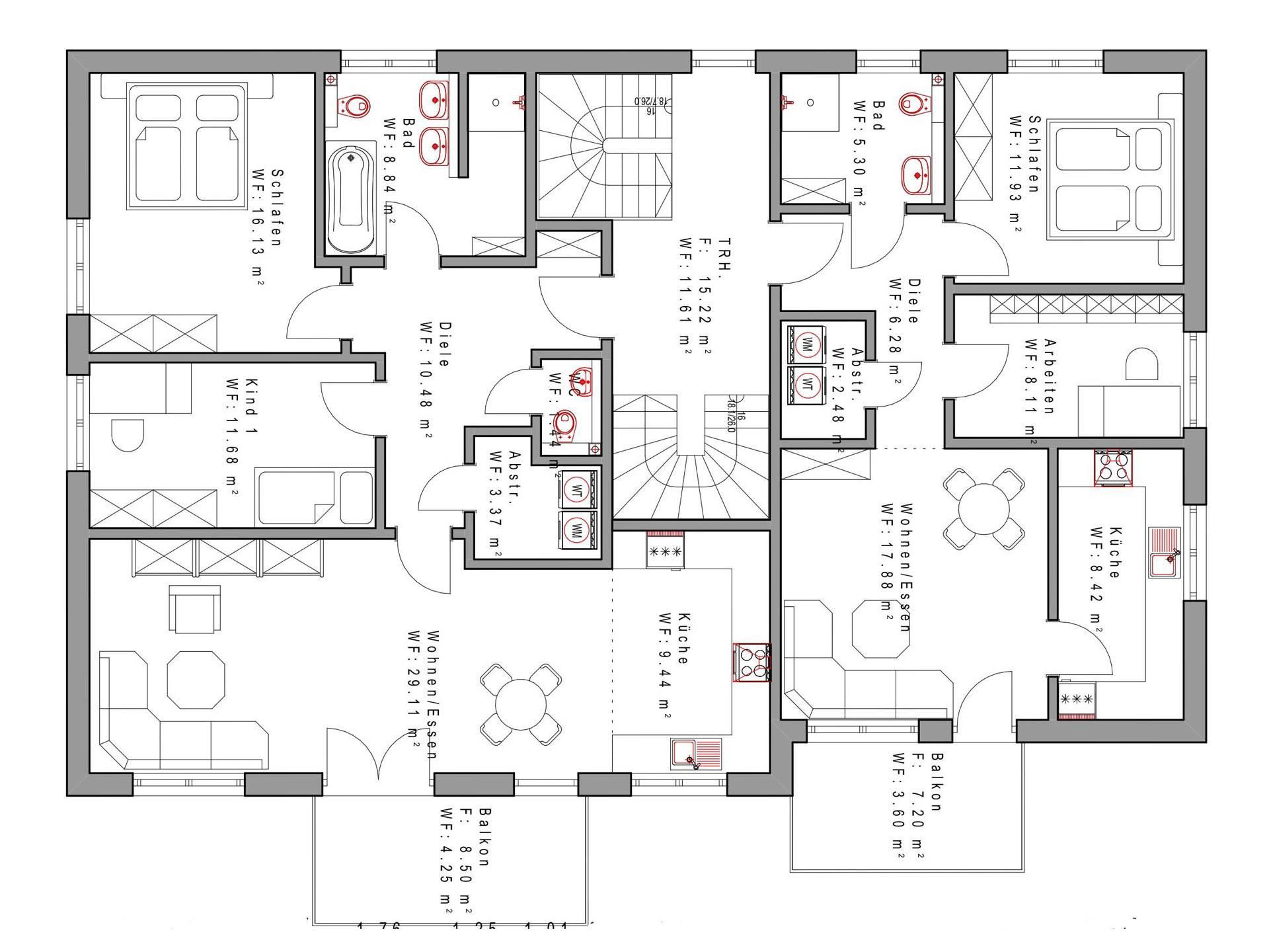 Vierfamilienhaus sd338 sachsenheimer fertighaus for Muster grundrisse haus