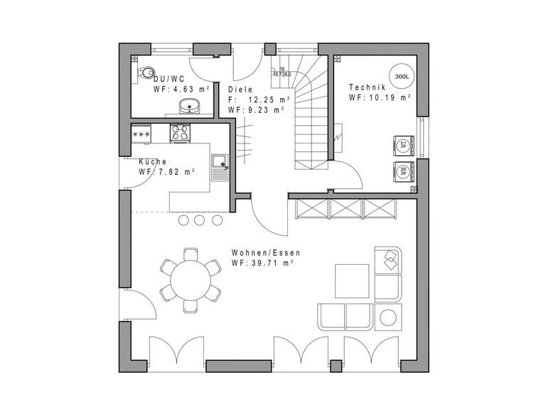 Einfamilienhaus SD132 Grundriss EG Sachsenheimer Fertighaus