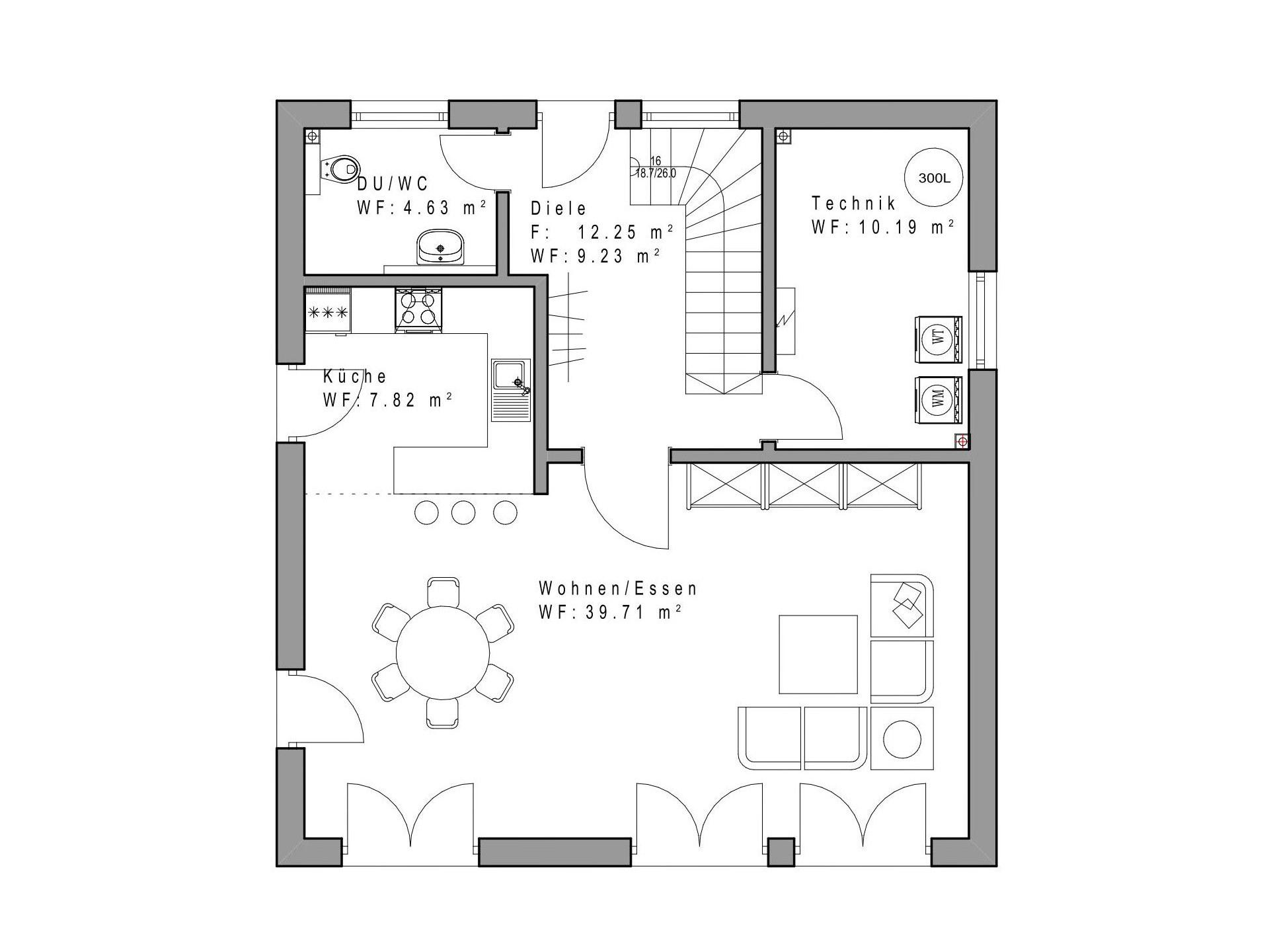 einfamilienhaus sd132 sachsenheimer fertighaus. Black Bedroom Furniture Sets. Home Design Ideas