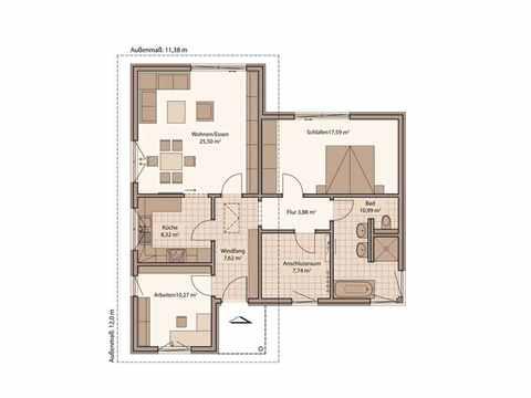 Bungalow Fame 90 B - Schwabenhaus Grundriss 1