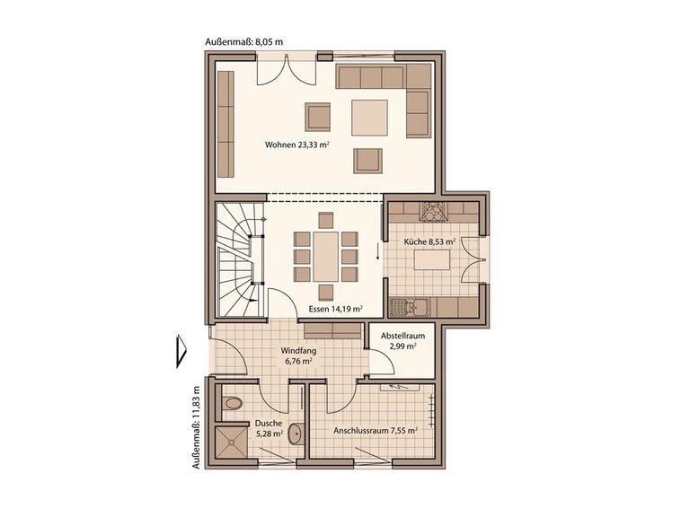 Schwabenhaus Einfamilienhaus Fame 68 Grundriss EG