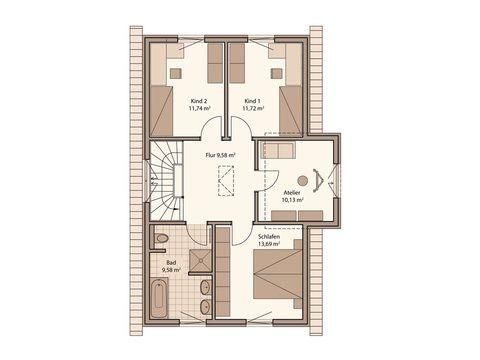 Schwabenhaus Einfamilienhaus Fame 68 Grundriss OG