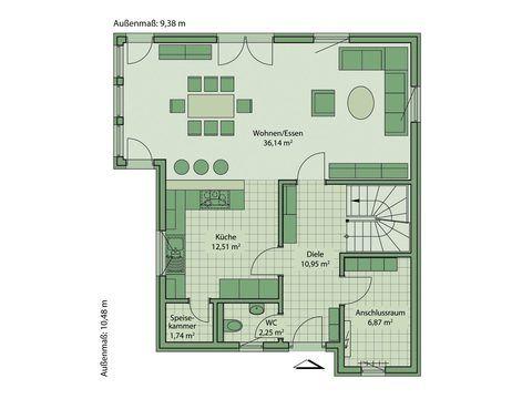 Schwabenhaus Einfamilienhaus Fame 53 Grundriss EG