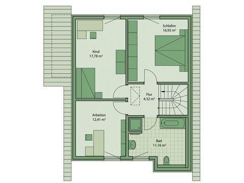 Schwabenhaus Einfamilienhaus Fame 53 Grundriss OG