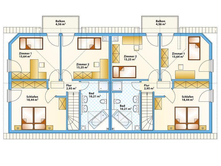 Schwabenhaus Doppelhaus Duett 1 Grundriss OG