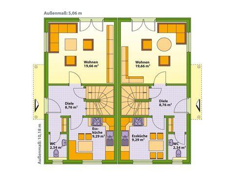 Schwabenhaus Doppelhaus Swing 51 Grundriss EG
